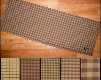 Brown and TAN Homespun Quilted Table Runner Placemats Plaid Primitive Country Rustic 24, 30, 36, 42, 48, 54, 60, 66, 72 inch