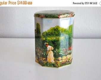 ON SALE Vintage Octagonal Countryside Garden Tin
