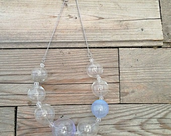 statement handblown glass bubble transparent and periwinkle necklace
