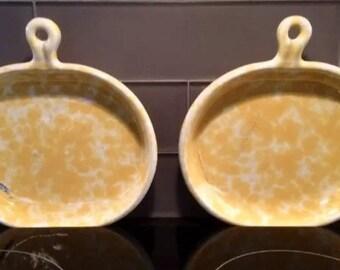 "Pair of Bennington Potters MORNING GLORY YELLOW Brie Handled 8"" Plates 1897 David Gill"
