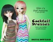 Cocktail Sheath dress clothes pattern for Slim 1/4 MSD BJD: Minifee, Kid Delf, Soulkid, Hujoo, Ellowyne Wilde