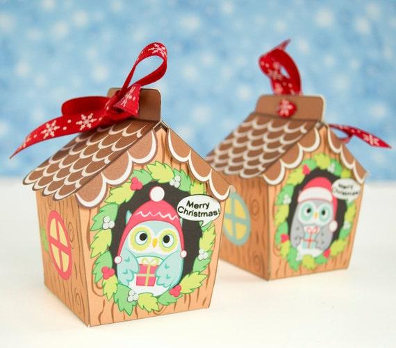 Diy Christmas Favor Boxes : Mini printable christmas owl house favor boxes stocking