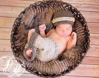 Crochet Boys Taupe and Brown Newsboy Hat and Pant Set Photo Prop Newborn