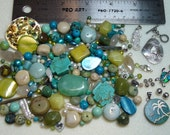 SALE - Stones, Pearls, and Sterling Silver Lot - DESTASH - blues, greens, cream - beads, charms, pendants, clasps - SP730