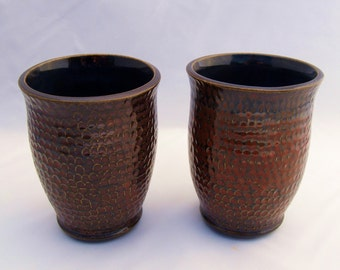 Textured Red and Blue Stoneware Ceramic Cups