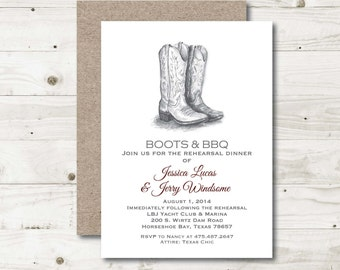 Boots and BBQ Invitation, Rehearsal Dinner Invitation, Country Rustic Rehearsal dinner Invite