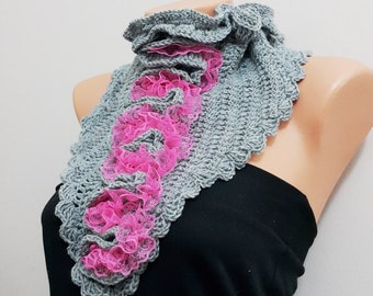 SCARF Gray and pink lace neckwarmers with button,Chunky Scarf, winter accessories,collar scarf buttons, small scarf, women girl's gift