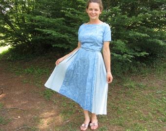 1950s Dress 50's Cotton Day Dress Ocean Beach Theme Blue Summer Day Dress Mid Century Retro