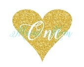 MEGA SALE SALE Gold Glitter Birthday Diy printable Heart One First Birthday Iron On Transfer Digital Image for Outfit Photo Prop Diy Printab