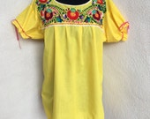 Vintage retro Mexican peasant blouse yellow cotton embriodery sz Large