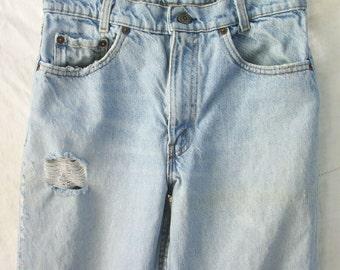Levi's denim Faded Jeans ~ Vintage Red Tab ~ 1980's era ~ Zipper Fly ~ Shredded ~ Natural Worn Holes ~ High Waist