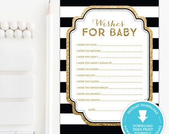 Black & Gold Baby Shower wishes for baby printable - Gold Baby Shower game - Gold Glitter wishes for baby card - Neutral Baby Shower