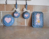 Adorable little girls room decor or fun house  tin playing toys hand painted