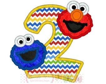 Cookie Elmo  Birthday Number 2 Digital Embroidery Applique Design
