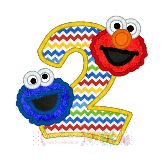 Cookie Elmo Birthday Number 2 Digital Embroidery Applique