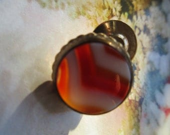 Victorian Banded Agate Tie Tac, Men's Fashion, Red Banded Agate, Bespoke Jewelry, Estate Jewelry, Victorian Lingerie Pin, Antique Men's