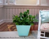 1/6th Scale Planter with greenery in modern design ~ Mint Green