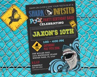 Shark Invitation, Shark Invite, Shark Party, Shark Birthday, Boy Invitations, Shark Birthday Invitation, Boy Pool Party Invitation, Invites