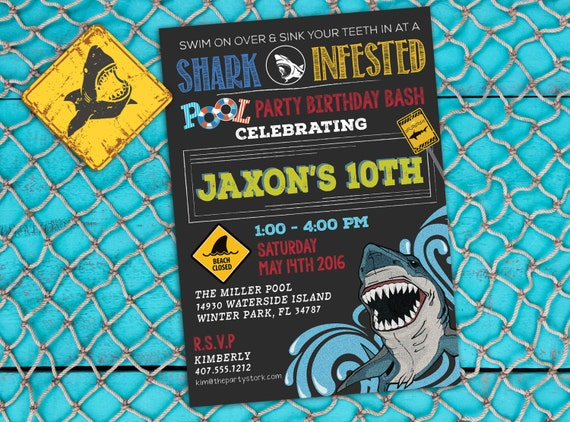 Well known Shark Invitation, Shark Invite, Shark Party, Shark Birthday, Boy  PS86