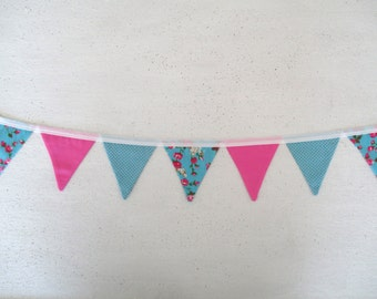 the mini charlotte - pink, blue, spot floral, flowers, peony, rose, girl, fabric bunting flag banner