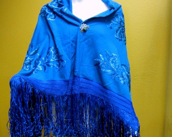 """Hand Embroidered BOLIVIAN Turquoise Flamenco/Piano Shawl 46"""" x 48"""" 8"""" Fringe~Bought in San Miguel de Allende,Mexico!"""
