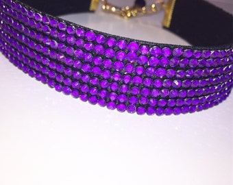 Purple Crystal Choker, purple gem choker jewelry, multicolour choker jewellery, choker necklace, rainbow choker Jewelry