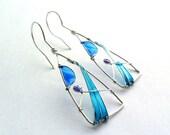 Triangle earrings, ocean blue earrings, geometric earrings, free shipping, turquoise earrings, wire earrings, resin earrings