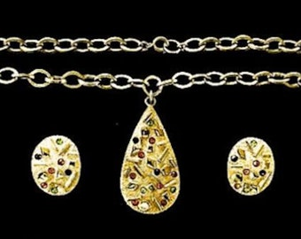 """Collectible Vintage Jewelry Sarah Coventry Glitzy Rhinestone Necklace Rhinestone Earrings """"Sultana"""" Gold Plated Jewelry Gift for Her"""