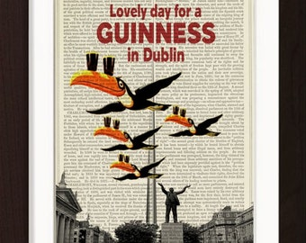 Lovely Day For A Guinness in Dublin Ireland mixed media  Print on repurposed vintage 1880's book page mixed media