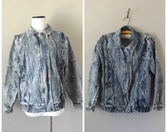Acid Wash Denim Jacket Vintage 80s Cotton Blue Jean Mens Womens Coat Size S Small Deep Pleat Retro 1980s Rocker Hipster Top Shirt Boho Coats
