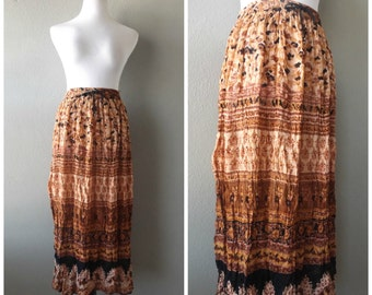india gauze maxi skirt   vintage 80s ethnic print broomstick skirts o/s one size hippie boho dress festival clothing 1980s hippy indian top