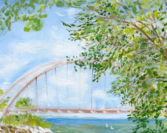 Original Art Toronto Humber Bay Bridge Painting on Canvas Hilary Porado Wall Art Home Decor Impressionist Painting Large Canvas