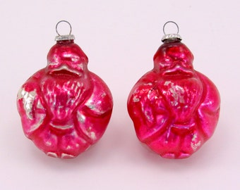 Figural Santa Feather Tree Christmas Ornaments  Vintage Glass Christmas Decorations 1950s