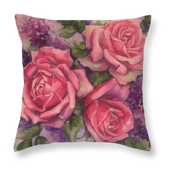 rose painting art pillow throw pillow accent pillow by RoyalRococo