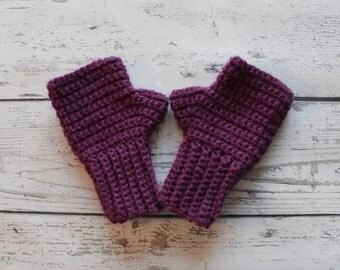 Fingerless Gloves, PURPLE, Wrist warmers, READY to SHIP!