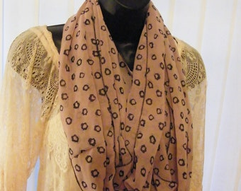 Chiffon Infinity scarf handmade in Victoria, BC, Canada versatile black and beige floral print
