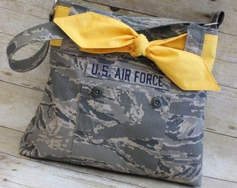 Air Force ABU Purse Handbag with Yellow (bring home the troops) Tie
