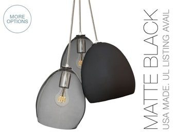Matte Black Clay & Smoke Glass Custom 3 Pendant Chandelier- MADE IN USA