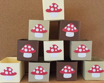 """Woodland candy cups, woodland treat boxes, 2.25"""" x 2.25"""", baby shower MINI favor boxes, small favor boxes, gift boxes, Set of 12"""