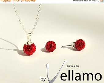 SALE Red crystal ball necklace and earrings, sterling silver, Swarovski disco ball, red, pendant and stud earrings