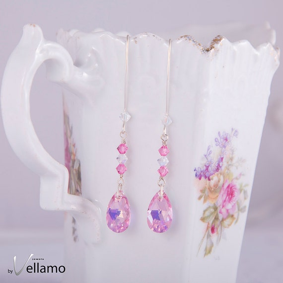 Sterling silver Swarovski dainty earrings, delicate faceted pink teardrop, dangling long cascade earrings, statement earrings, marquis hooks