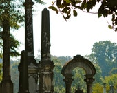 Tombstones Through the Magnolia Oconee Hill Cemetery Downtown Athens Ga Print Historic Cemetery Photo Obelisk Arch Picture 5x7 8x10 11x14