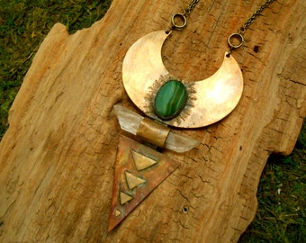 """Brass Crescent and Triangle """"Rhea"""" Necklace with Green Agate and Crystal Quartz"""