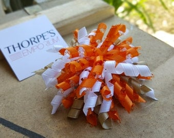 Orange Taupe White | Korker Bow | Hair Bow | Brooch Pin Accessory