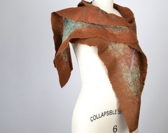 SUMMER SALE Brown Felted Scarf - Nuno Felted Scarf - Merino Wool Felted Scarf - Silk Scarf - Nuno - Felted - Women's Accessories