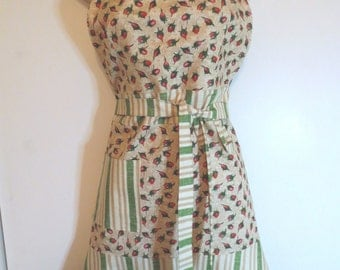 Pink Rosebud/Cream and Green Print Full Apron