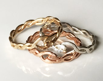 Hammered Braided Stacking Ring - Mixed Metal Ring - Stacking Rings - Twisted Trio Ring - Gold Ring - Silver Ring - Rose Gold Ring