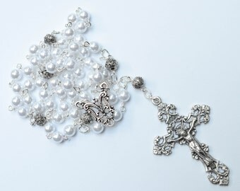 White Pearl Rosary Necklace, White Traditional 5 Decade Catholic Rosary, Wedding