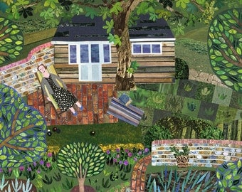 Virginia Woolf, Greeting Card, Bloomsbury, England, Country Garden, Summer, Writers House, Illustration, Amanda White Design, Garden Shed