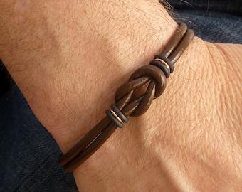 Celtic Bracelet, Unisex Bracelet, Mens Brown Leather Bracelet, Celtic Leather Bracelet, Copper Bracelet for Men, Brown Leather Bracelet